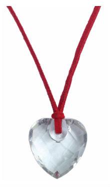 Colier inimioară sticlă cu șnur roșu