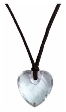 Colier inimioară sticlă cu șnur negru