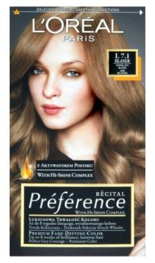 Vopsea de păr Preference Blond Cenuşiu 7.1 - L'Oreal