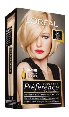 Vopsea de păr Preference Blond Foarte Deschis Cenuşiu 9.1 - L'Oreal