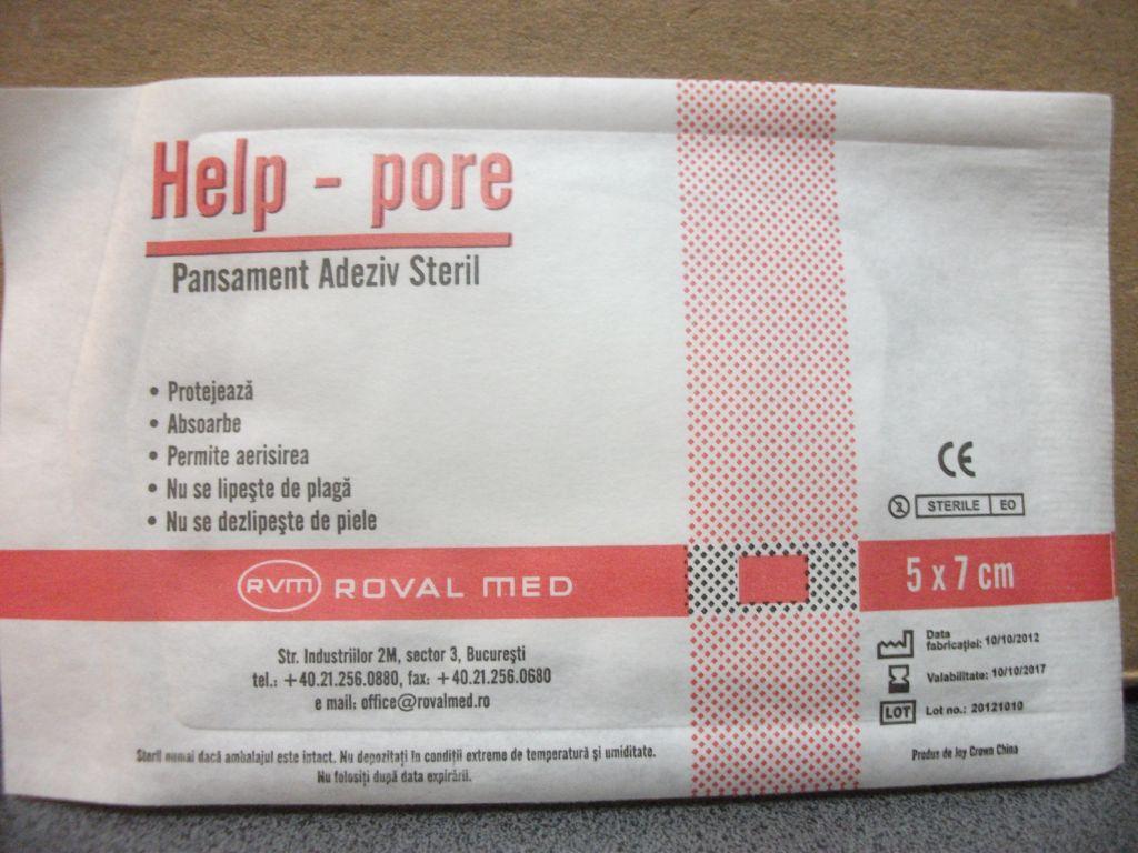 Pansament adeziv steril 7cm x 5cm - HelpPore