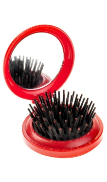 Perie de păr cu oglindă, pliabilă, roșu
