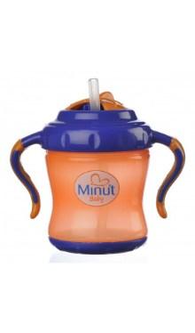 Cană cu pai și mâner portocaliu - Minut