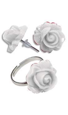 Cercei Floare albă cu inel