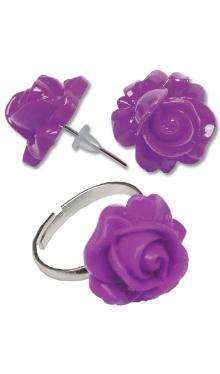 Cercei Floare mov cu inel
