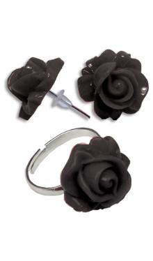 Cercei Floare neagră cu inel
