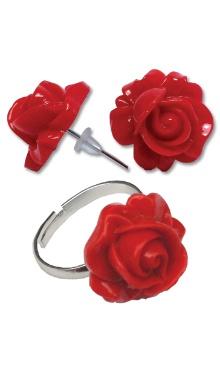 Cercei Floare roșie cu inel