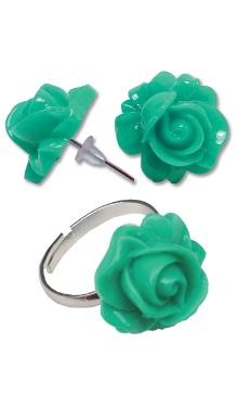 Cercei Floare turcoaz cu inel