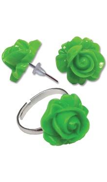 Cercei Floare verde cu inel