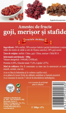 Mix goji, merişor, stafide